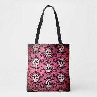 Pink Goth skull pattern Tote Bag