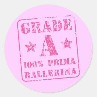 Pink Grade A Prima Ballerina Round Sticker