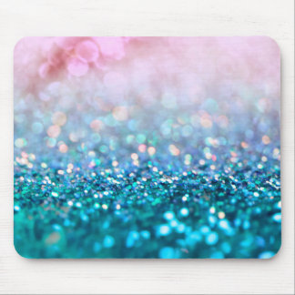Pink Gradient Blue Teal Sparkle Trendy Glitter Mouse Pad