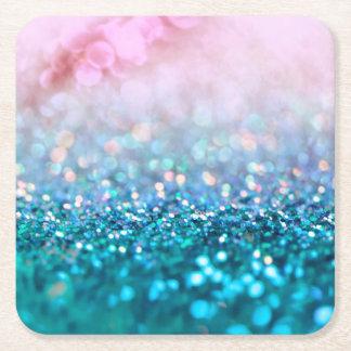 Pink Gradient Blue Teal Sparkle Trendy Glitter Square Paper Coaster
