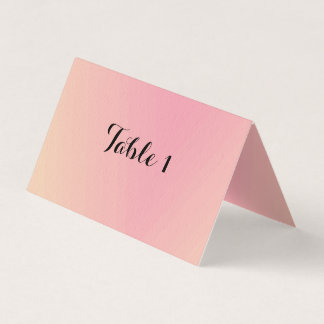 Pink Gradient Folded Table Number Card