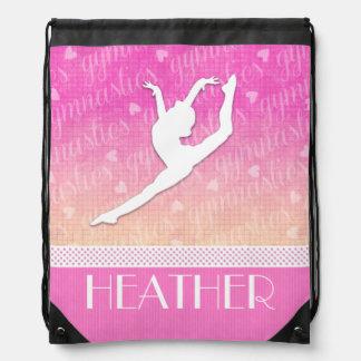 Pink Gradient Passionate Gymnastics with Monogram Drawstring Bag