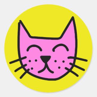 pink graffiti cat face classic round sticker