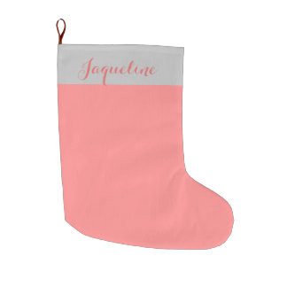 Pink Grapefruit And Silver Large Christmas Stocking