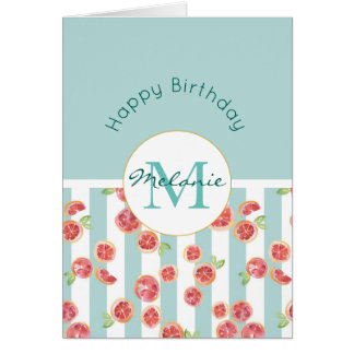 Pink Grapefruit Pattern on Green Stripes Birthday Card