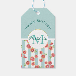 Pink Grapefruit Pattern on Green Stripes Birthday Gift Tags
