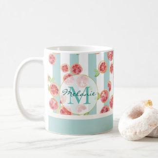 Pink Grapefruit Pattern on Green Stripes Monogram Coffee Mug