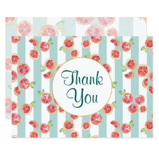 Pink Grapefruit Pattern on Green Stripes Thank You Card