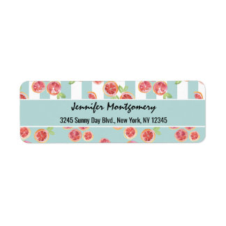 Pink Grapefruit Pattern on Stripes Return Address Label