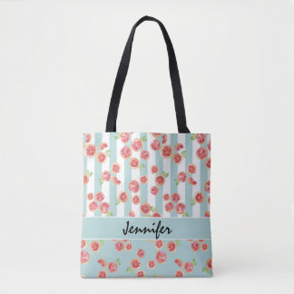 Pink Grapefruit Pattern on Stripes Tote Bag