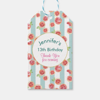 Pink Grapefruits on Green Stripes Birthday Thanks Gift Tags
