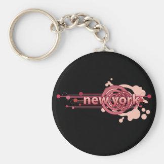 Pink Graphic Circle New York Keychain Dark