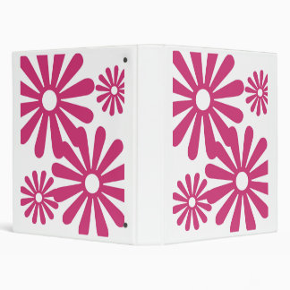 Pink Graphic Daisy Flower 3 Ring Binders
