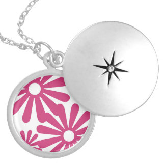 Pink Graphic Daisy Flower Pendants