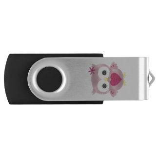Pink Graphic Owl Design USB Flashdrive USB Flash Drive