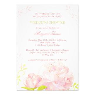 Pink + Grass Green Posh Wedding Shower Invitations