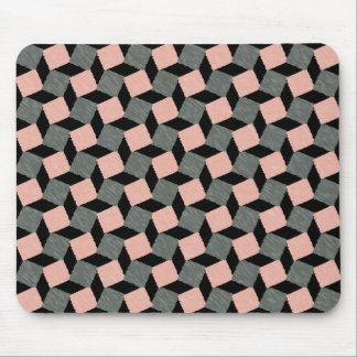 Pink Gray Abstract Geometric Ikat Square Pattern Mouse Pad