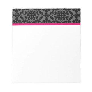 Pink Gray and Black Damask Notepad
