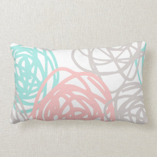 Pink Gray and Teal Doodle Pattern Lumbar Pillow