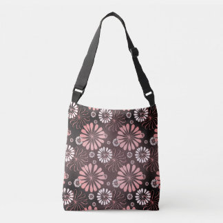 Pink Gray and White Flower Tote