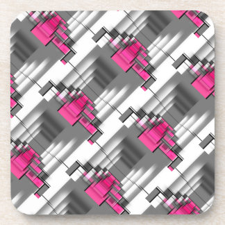 Pink Gray And White Geometrical Pattern Coaster