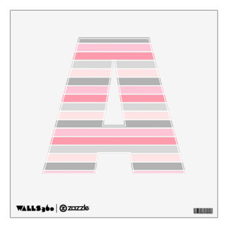 Pink, Gray, and White Striped Wall Decal