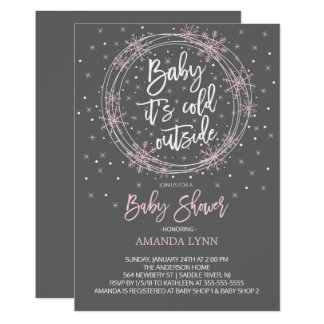 Pink Gray Baby It's Cold Outside Baby Shower Card