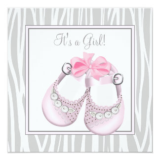 Pink Gray Baby Shoes Pink Gray Baby Girl Shower Personalized Invitation