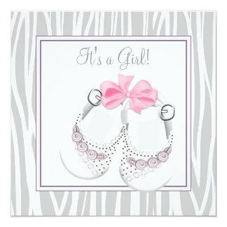 "Pink Gray Baby Shoes Pink Gray Baby Girl Shower 5.25"" Square Invitation Card"