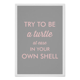 PINK & GRAY BE A TURTLE AT EASE IN YOUR OWN SHELL POSTER