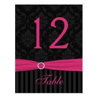 Pink Gray Black Damask Stripe Table Number Card