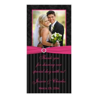 Pink Gray Black Damask Striped Wedding Photo Card
