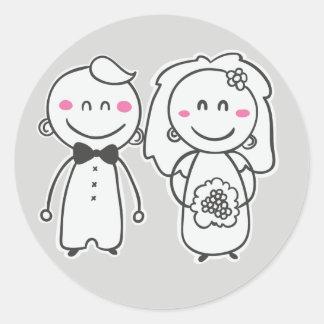 Pink & Gray Cartoon Bride And Groom Sticker / Seal