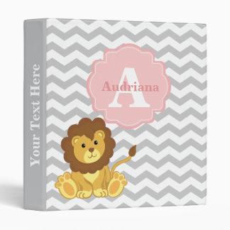 Pink Gray Chevon Lion Personalized Baby Binder