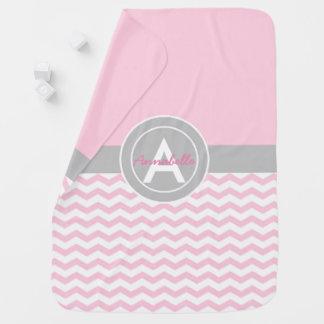 Pink Gray Chevron Baby Blanket