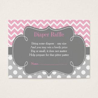 Pink & Gray Chevron Diaper Raffle Business Card