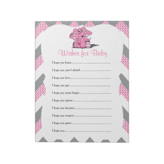 Pink & Gray Chevron Elephant Baby Shower Wishes 2 Notepad