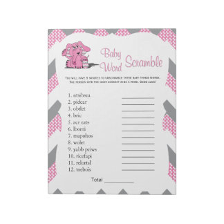 Pink & Gray Chevron Elephant Baby Word Game 2 Notepad