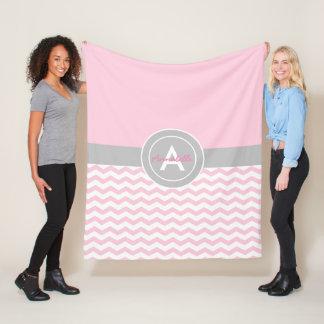 Pink Gray Chevron Fleece Blanket