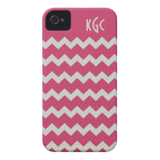 Pink & Gray Chevron Monogrammed iPhone 4/4s iPhone 4 Case-Mate Cases