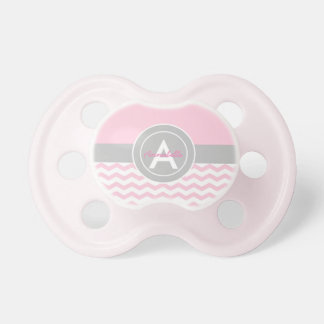 Pink Gray Chevron Pacifier
