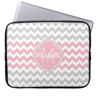 Pink Gray Chevron Pattern Quatrefoil Monogram Laptop Sleeve
