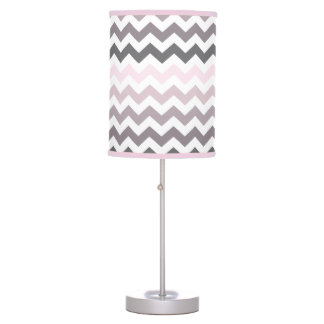 Pink & Gray Chevron Table Lamp