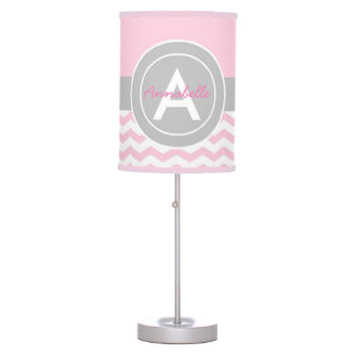 Pink Gray Chevron Table Lamp