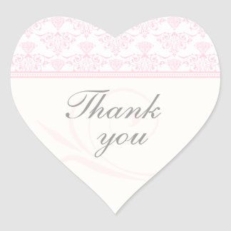 Pink gray chic damask wedding thank you stickers