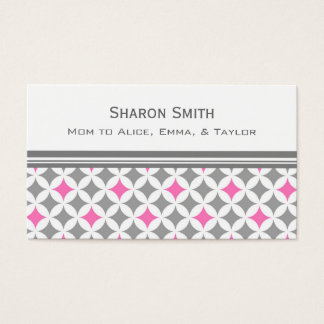 Pink Gray Circles Pattern Mom Calling Cards