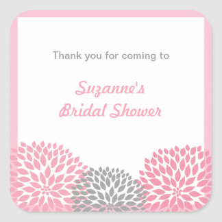 Pink Gray Dahlia Bridal or Baby Shower favor tag Square Sticker