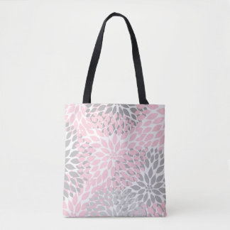 Pink Gray Dahlia Floral Everything Bag