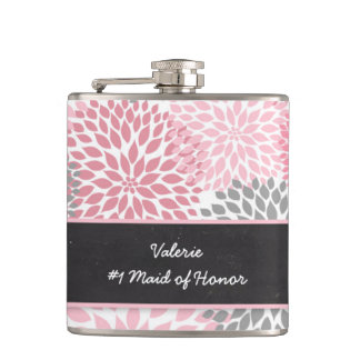 Pink Gray Dahlia Maid of Honor wedding party gift Hip Flask