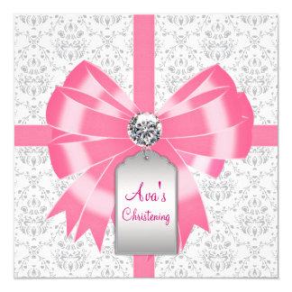 "Pink Gray Damask Baby Girl Baptism Christening 5.25"" Square Invitation Card"